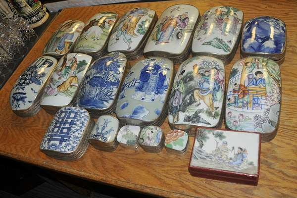 Fred Sand estate collection - Collectible Asian porcelain covered boxes - to be sold in lots