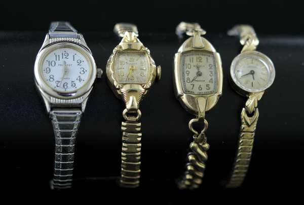 Four ladies watches, one in 14k case (71-2)