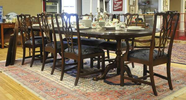 Dining table with two leaves and table pads, Henkel Harris (175-3) & eight dining room chairs, Harden (175-4)