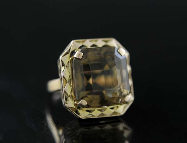 Smoky quartz 20ct 14k ring (170-2)