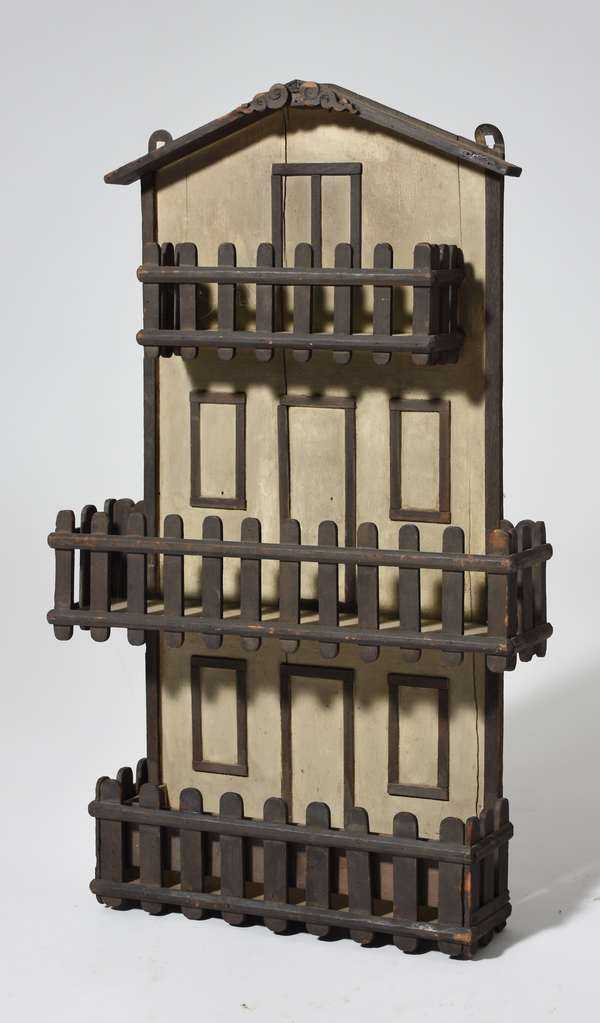 Folk Art wall rack, paint decorated, once used for combs, 26