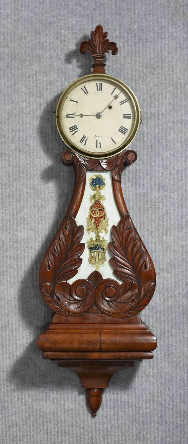 Early 19th C. Boston lyre form banjo clock carved mahogany case, Federal shield table dial signed Sawin, 39