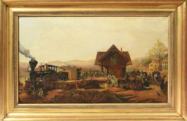 Oil on canvas, train station 20th C., 22