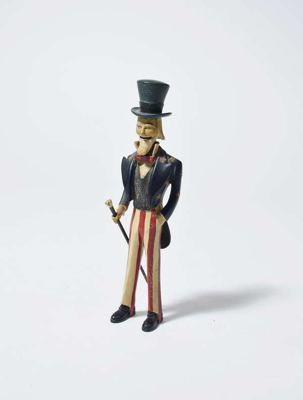 Good 19th C. Folk Art carved and painted figure of Uncle Sam (great paint), 8