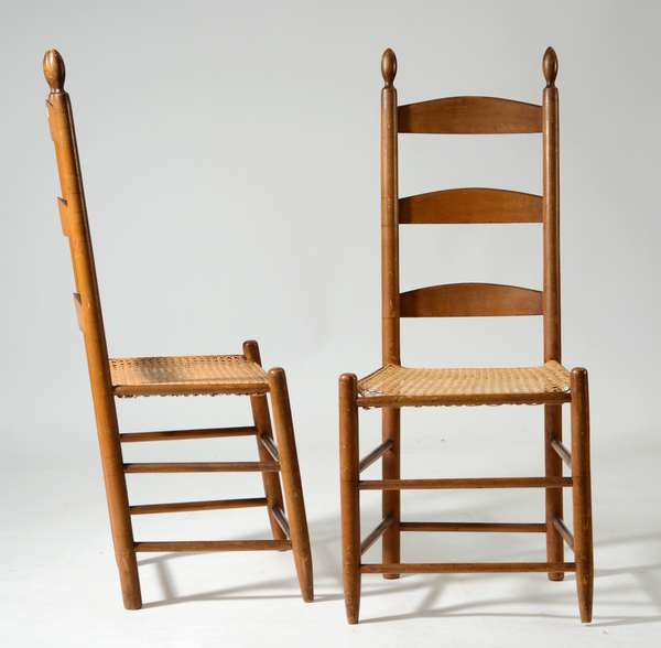 Pair of mid 19th C. Shaker three slat ladder back chairs, old mustard color, Harvard Community.