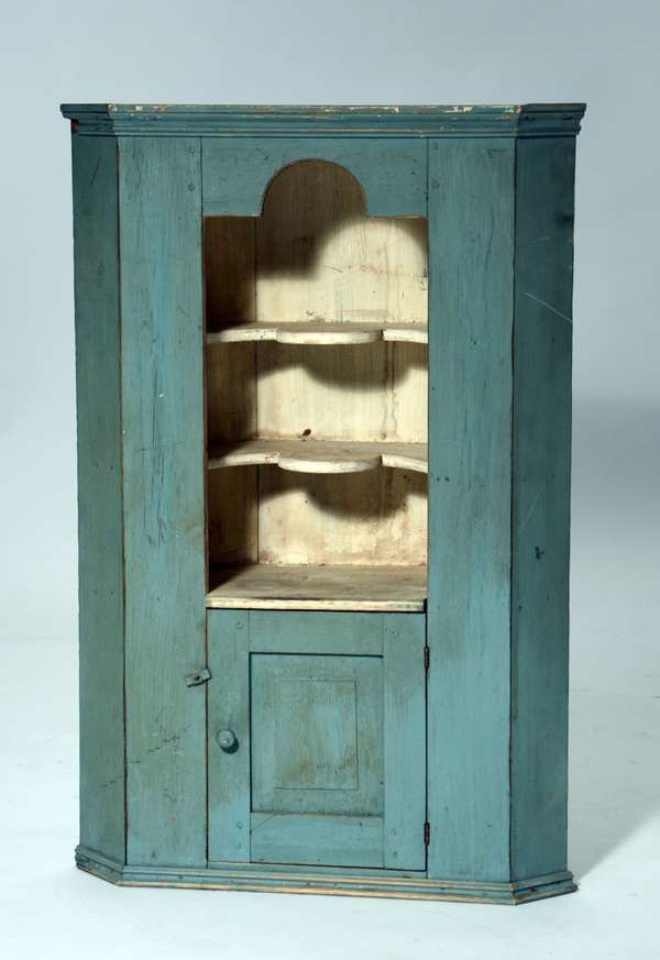 Child size corner cupboard in blue/green paint, c.1890-1910
