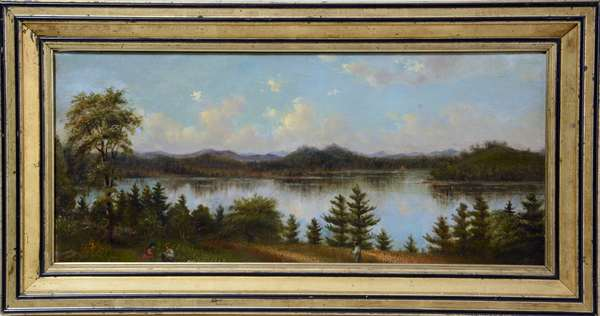 Framed oil on canvas, Vt. figures on the shore of lake, mountains, 10