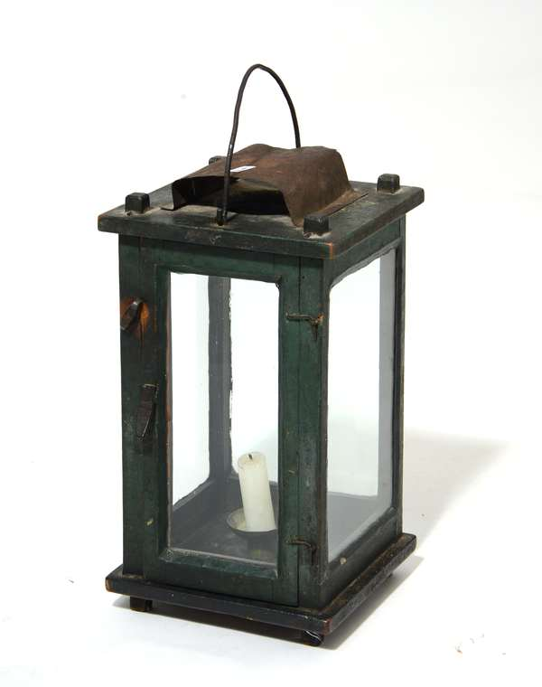 19th C. green painted wood candle lantern, 14