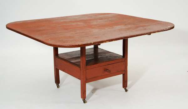 Early 19th C. hutch table, New England, red paint, (52