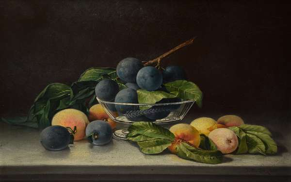 19th c. oil painting still life fruits