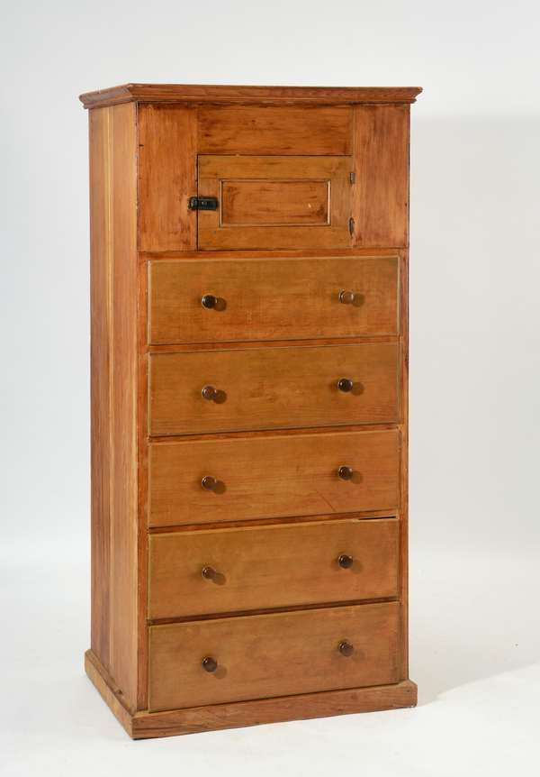 19th c. Shaker floor cupboard over five drawers, pine with walnut pulls, drawers with traces of old color, purchased in 1975 at Caropresso auction, 33