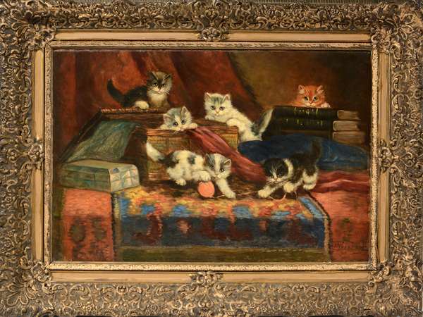 Oil on canvas, kittens playtime, signed, 17