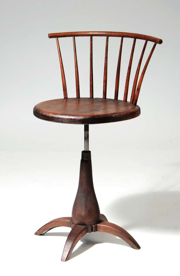 19th C. Shaker, Mt. Lebanon revolving chair, pine and maple, old varnish, 29