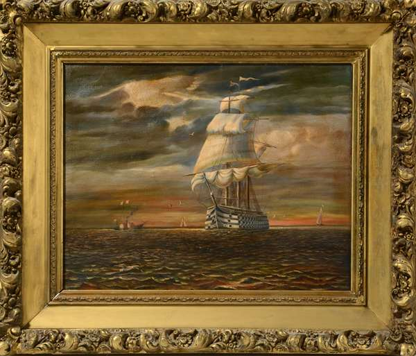 Marine painting of sailing ship with guns, signed reverse
