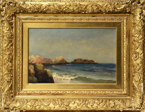 Oil on canvas, shoreline signed M.F. DeHaas, 12