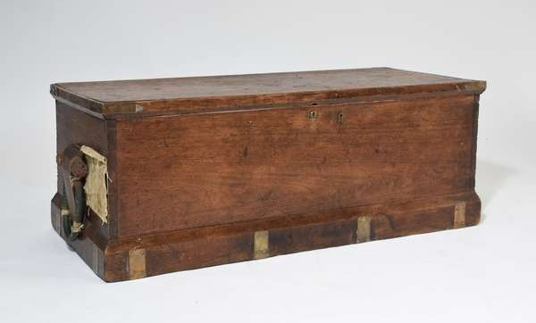 19th C. walnut ship captains chest with great becket handles with history on label at end, 16