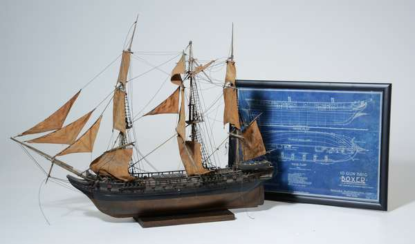 Antique boat model, 10 Gun Brig Boxer with blue print, launched Nov. 22, 1831 at Charlestown Navy Yard, 33