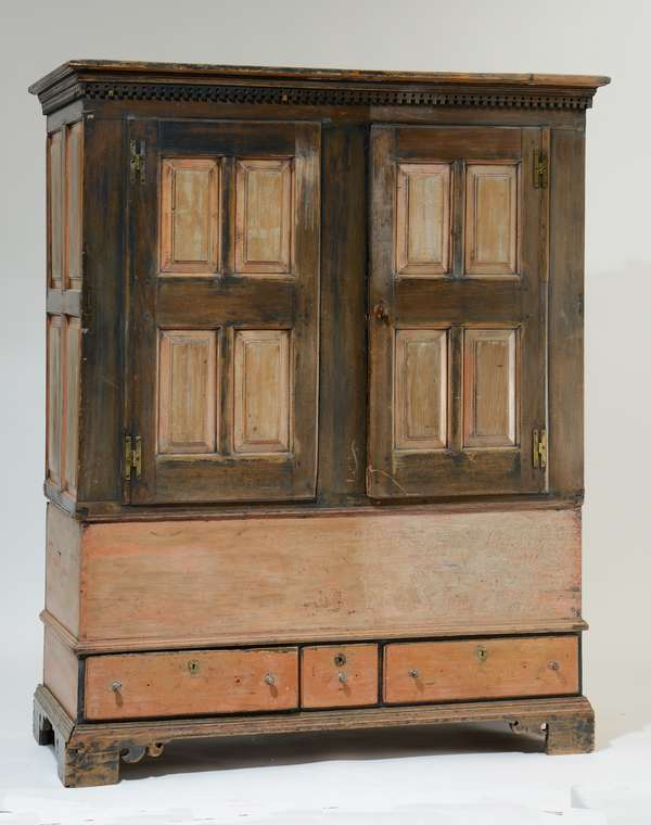 Unusual 18th C. PA. press cupboard in two-parts, with power chest base, traces of old paint, 93