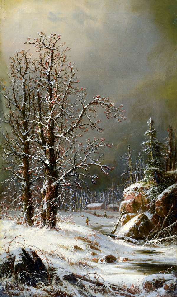 Oil on canvas, winter scene signed H. Geyer, 24