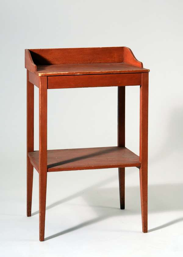 19th C, Shaker wash stand in red stain