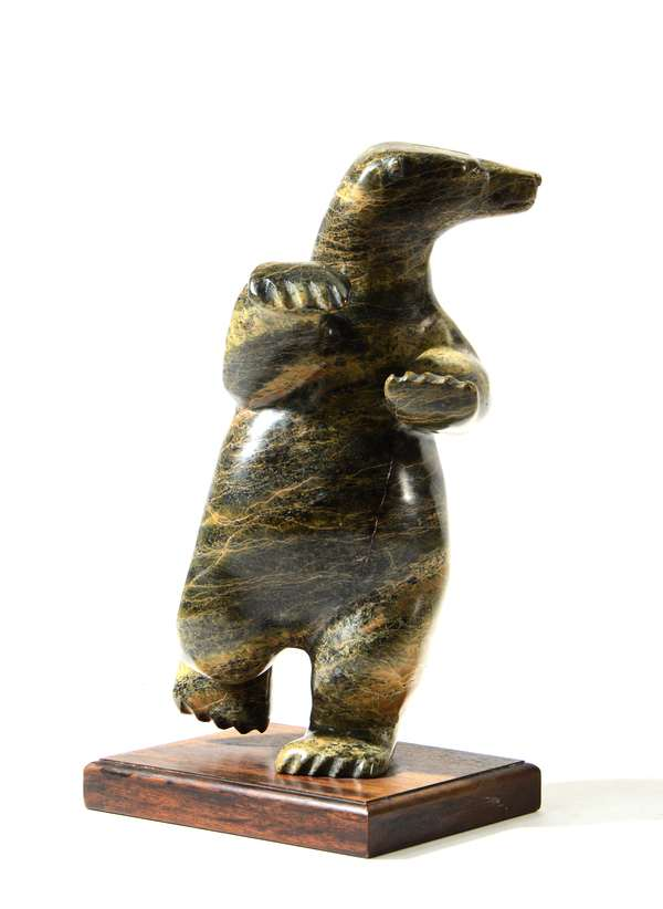 Inuit stone carved sculpture Dancing Bear,on wood stand, 21