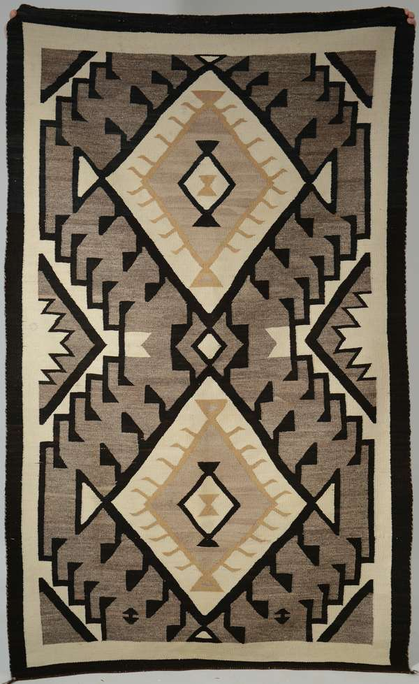 Navajo weaving black and tans ca.1920's, Jean Lipman collection, 47