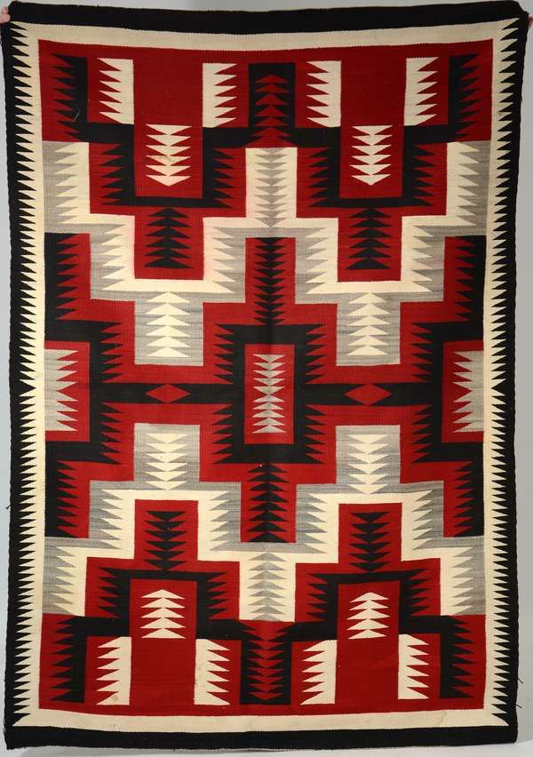 Navajo weaving, Ganada area, red, brown and gray, 51