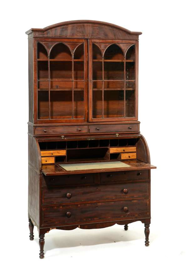 Federal MA. mahogany inlaid cylinder roll secretary with bookcase top, ca.1810, 80