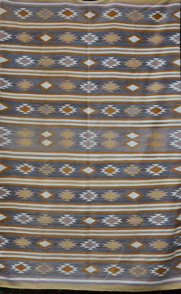 Large two Gray Hills area Navajo weaving, 72