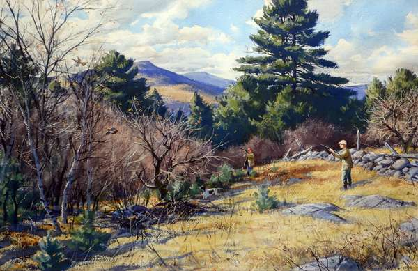 "Watercolor, ""Grouse in New Hampshire"", signed A. Lassell Ripley, Vose Galleries label, 19.5"