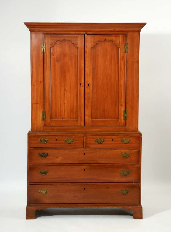 Chippendale cherry two-part linen press, arched panel doors, ca.1780, 80