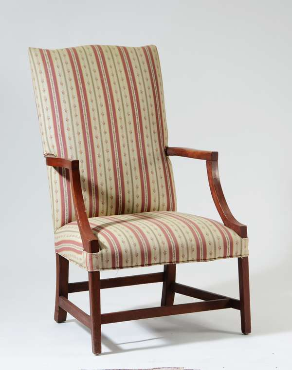 Early 19th C. country Federal Hepplewhite lolling chair in old red