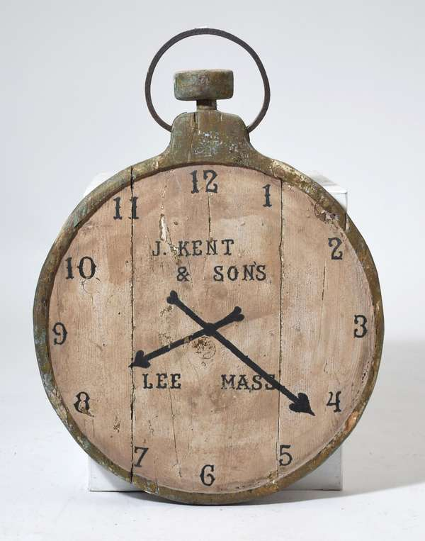 19th C. watch makers trade sign J Kent & Son's Lee MA, old paint with iron hook, 33