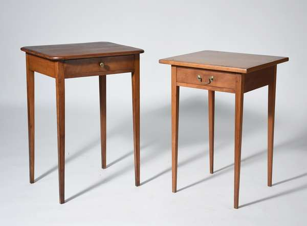 Two Hepplewhite one drawer stands, cherry with inlaid top and mahogany with molded edge top, ca.1800-1820