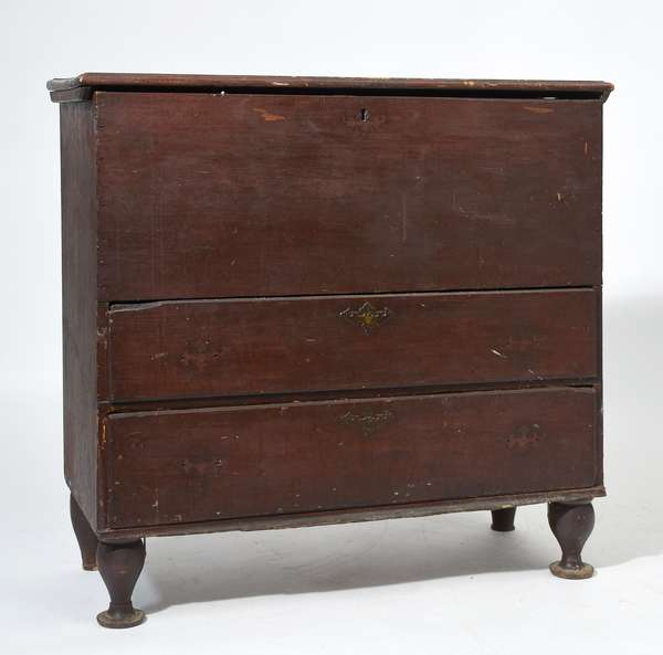 18th C. New England two drawer blanket chest in old red paint, 39