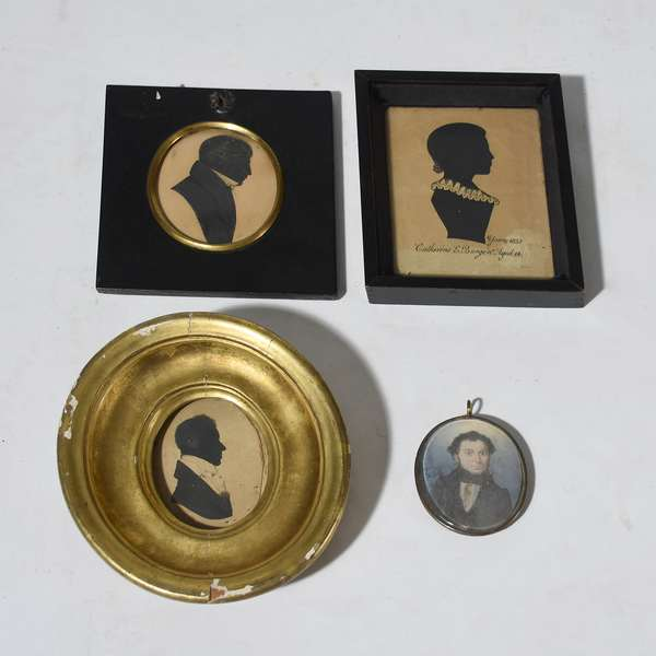 Three early 19th C. hollow cut and hand colored silhouettes, some with history, with a miniature painting of a gentleman, four pieces total