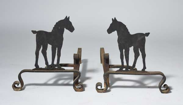 Unusual iron andirons with horse motif