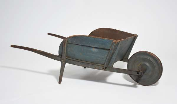 19th C. Shaker child's size wheel barrow in old blue paint, 14