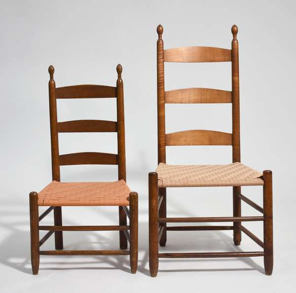 Two Shaker slat back side chairs, large example in curly maple with tilters 38
