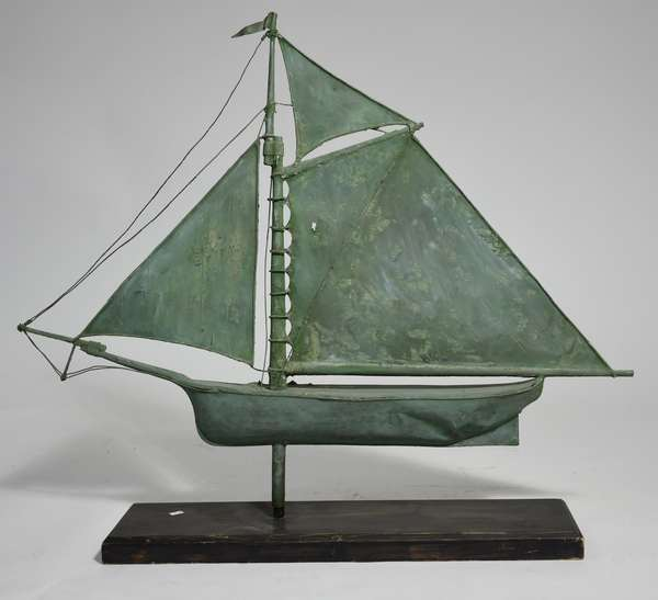 Sailboat weathervane copper with verdigris surface,a Hudson River Sloop, found in Walker Valley NY 36