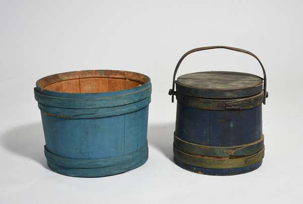 Lapped firkin in old blue paint #25 on bottom with a open top blue lapped bucket, 9