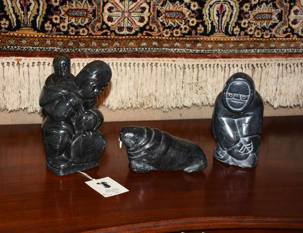 Three  Inuit stone carvings 8.5