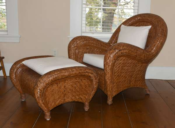 Cool Deco style woven rattan club chair and ottoman