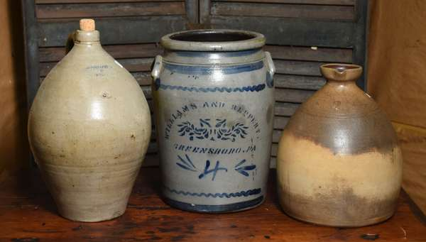 Three pieces of stoneware, including 4 gal. cobalt stencil decorated PA. stoneware crock by Williams & Heppert along with Goodwin & Webster ovoid example and other, 3 pieces total