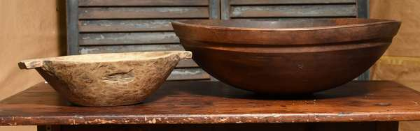 Large turned cherry bowl along with other handled primitive example