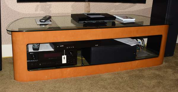Deco style maple and glass TV entertainment stand, 64