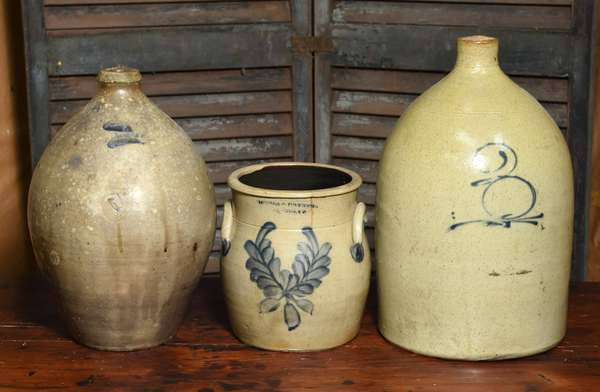 Three piece stoneware lot, Goodwin & Webster ovoid jug along with other jug and a Nichols & Boynton crock, three pieces total