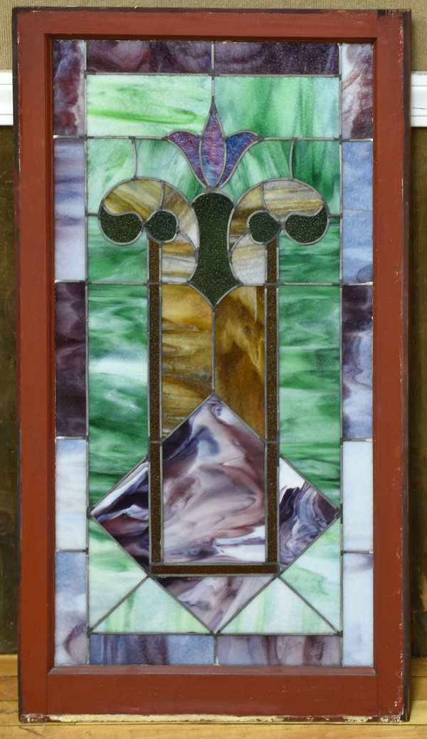 Good stained and leaded glass window pane with wooden frame, 45