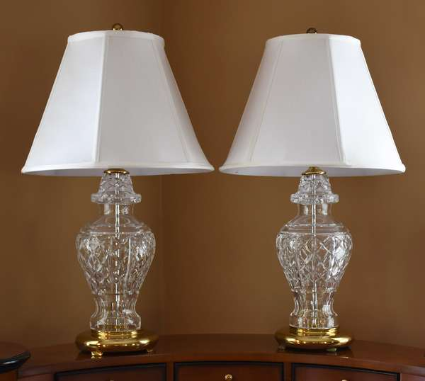 Lovely pair of Waterford crystal table lamps with shades, 13.5