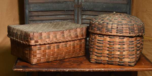 Two lidded splint baskets with dyed details, 21